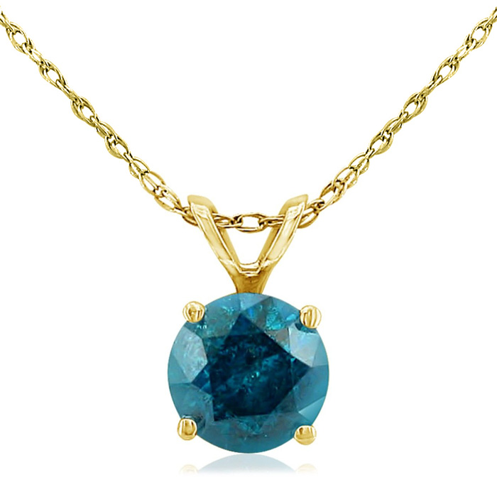 3/4 Carat Blue Diamond Pendant Necklace in 14k Yellow Gold, 18 Inch Chain by Hansa