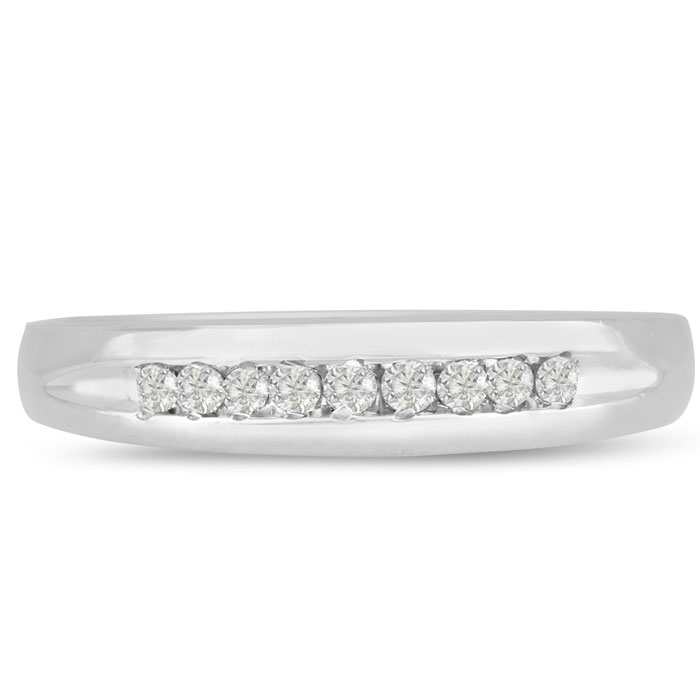 1/8ct Heavy Diamond Wedding Band in 14k White Gold