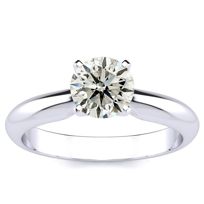 1 Carat Round Shape Diamond Solitaire Ring in Platinum (H-I, SI2-I1) by Hansa