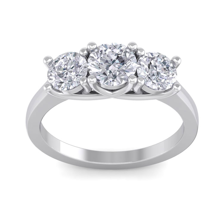 2.15 Carat Three Colorless Diamond Engagement Ring in 14K White Gold, E/F by SuperJeweler