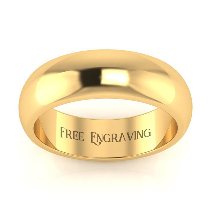 18K Yellow Gold 6MM Heavy Ladies and Mens Wedding Band, Size 3, Free Engraving