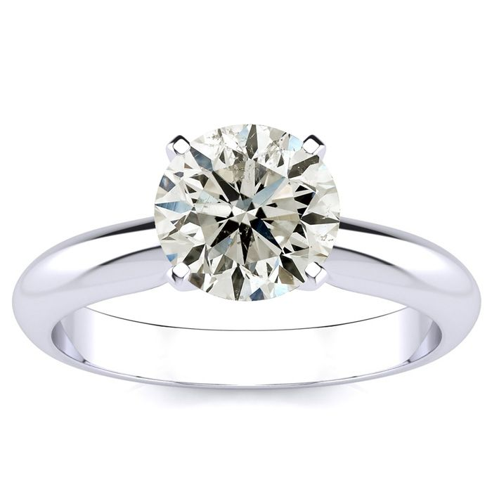 1.5 Carat Round Diamond Solitaire Ring in 14k White Gold (H-I, SI2-I1) by SuperJeweler