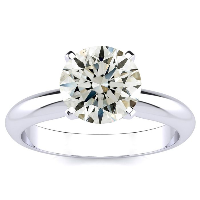 Image of 2ct Round Diamond Solitaire Ring in 14k White Gold, I, SI3/I1