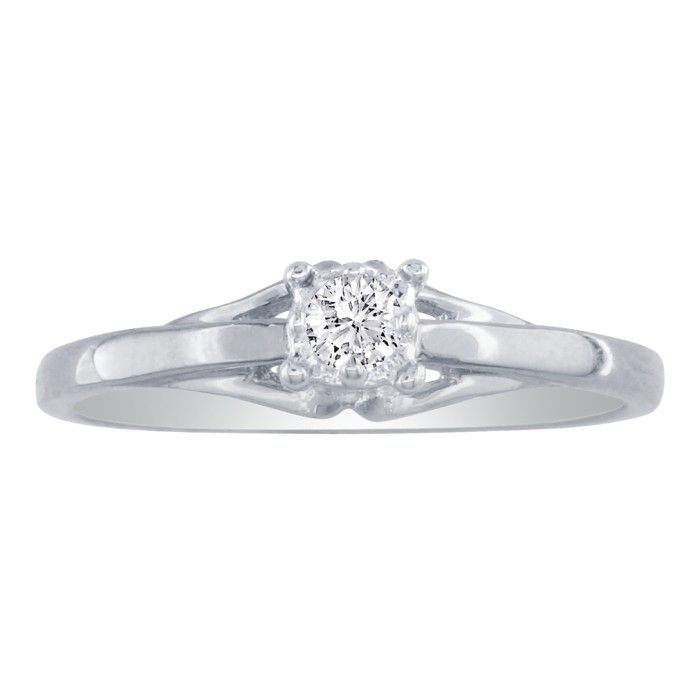 .05 Carat Diamond Promise Ring in 10k White Gold, I/J by SuperJeweler
