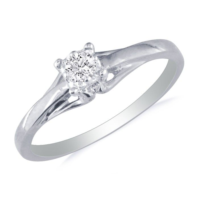 05ct Diamond Promise Ring in 10k White Gold SuperJewelercom