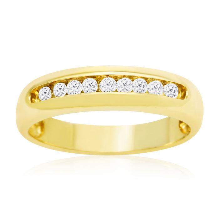 1/4 Carat Round Diamond Heavy Mens Wedding Band in 14k Yellow Gol