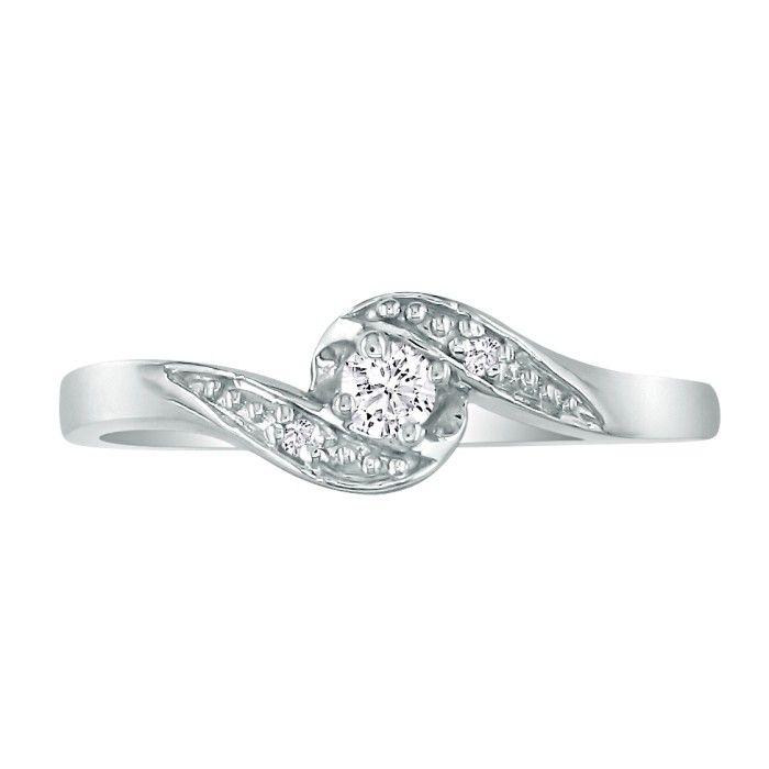 Bypass Diamond Promise Ring in 10k White