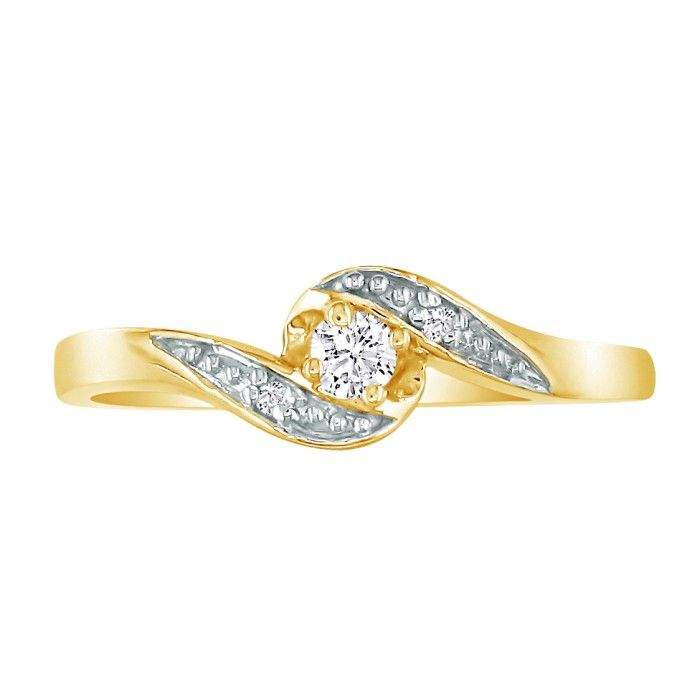 Bypass .08 Carat Diamond Promise Ring in 10k Yellow Gold, I/J by