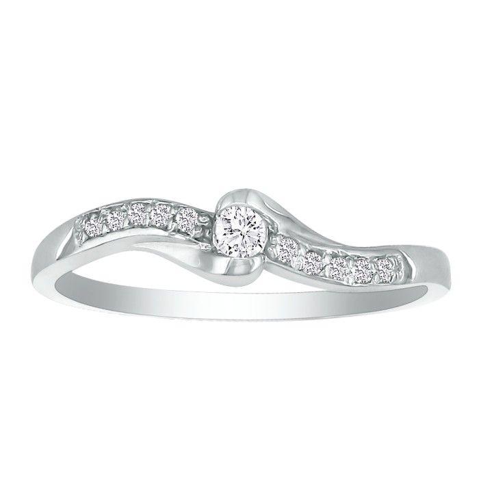1/10 Carat Solid & Fancy 11-Diamond Promise Ring in 10k White Gol