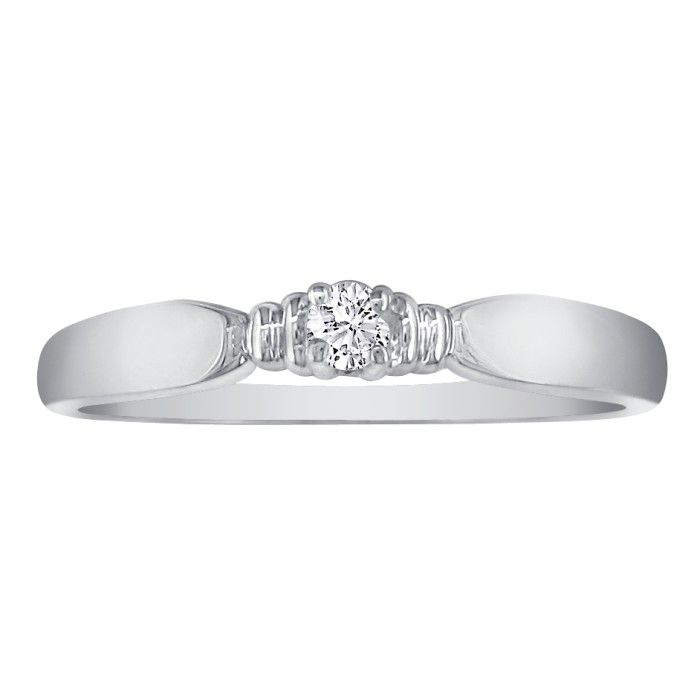 Tailored Diamond Promise Ring in 10k White Gold, I/J by SuperJewe
