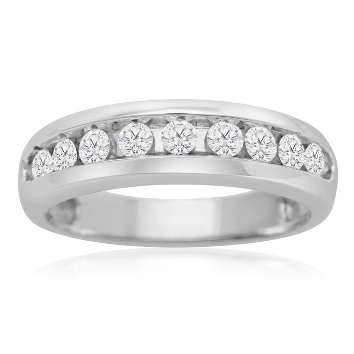 1/2 Carat Round Diamond Heavy Mens Wedding Band in 14k White Gold