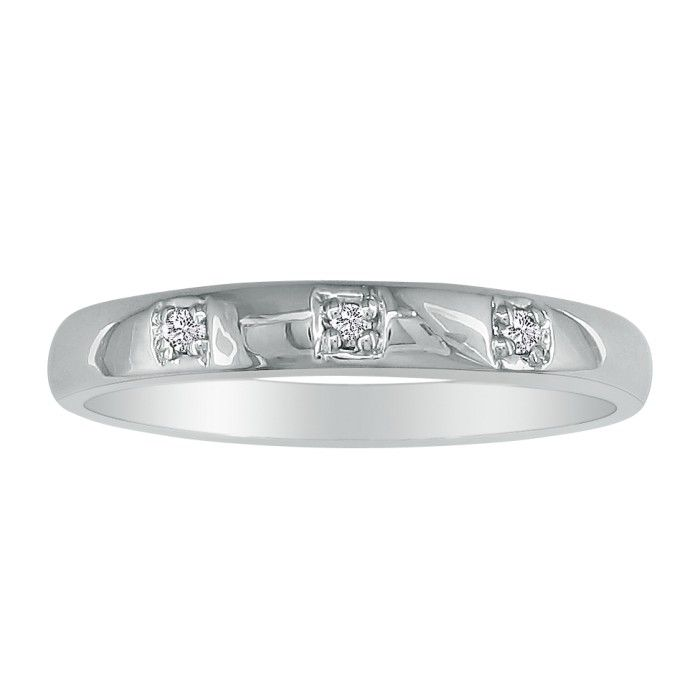 Image of Three Diamond Promise Ring in 10k White Gold