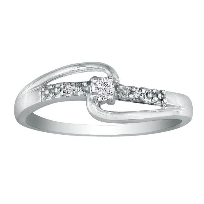 Beautiful Open Shank .06 Carat Diamond Promise Ring in 10k White