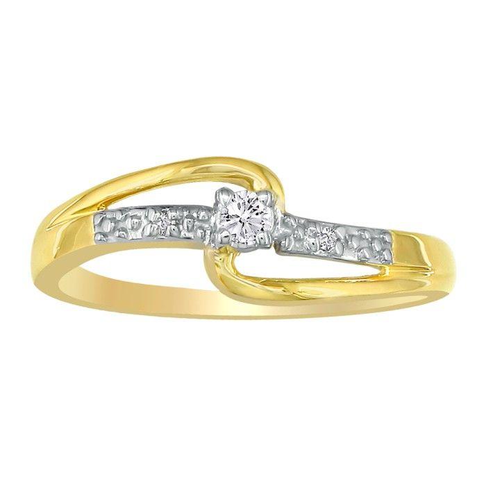 Beautiful Open Shank .06 Carat Diamond Promise Ring in 10k Yellow