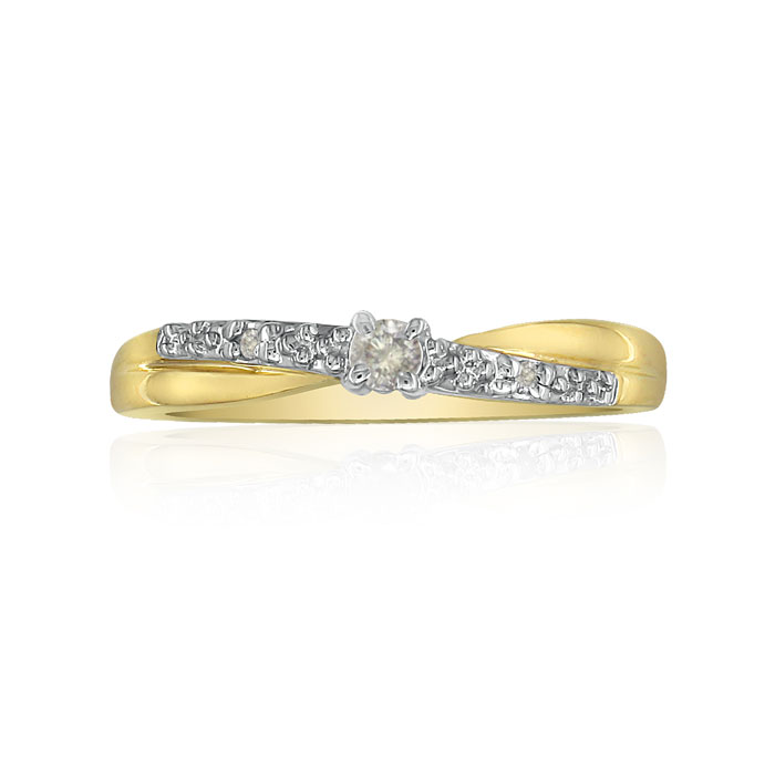 Beautiful Crossover .06 Carat Diamond Promise Ring in 10k Yellow Gold, I/J by Hansa
