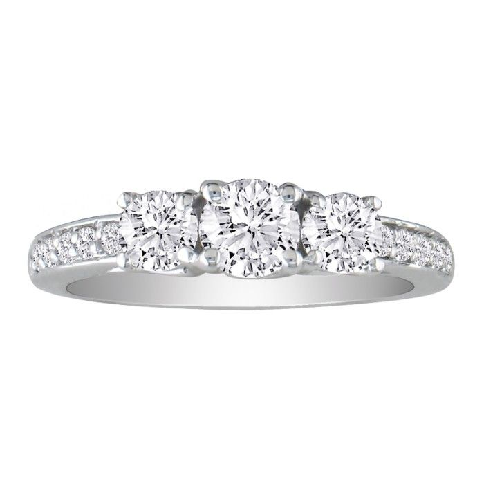 1 1/2ct Three Diamond Plus Engagement Ring,