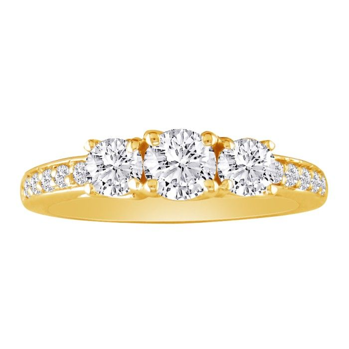 1.5 Carat Three Diamond Plus Engagement Ring, 14k Yellow Gold (H-