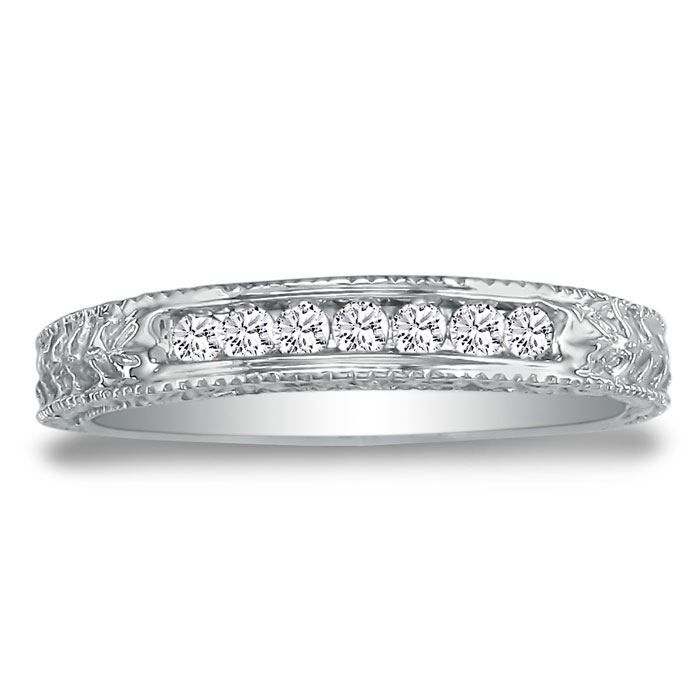 1/8 Carat Antique Style Diamond Wedding Band in 10k White Gold (2