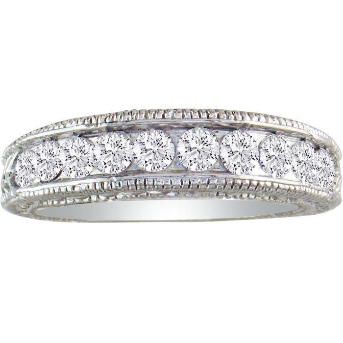 1/2 Carat Antique Style Diamond Wedding Band in 10k White Gold, I