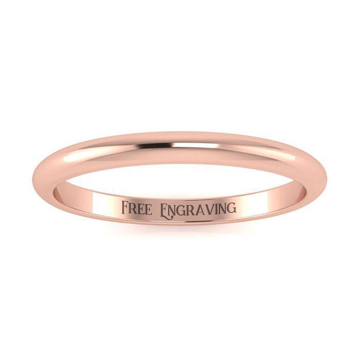 14K Rose Gold (2.1 g) 2MM Comfort Fit Ladies & Mens Wedding Band, Size 11.5, Free Engraving by SuperJeweler