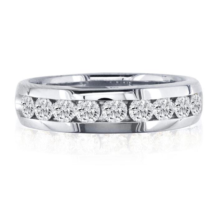 1 Carat Round Diamond Heavy Mens Wedding Band in 14k White Gold,