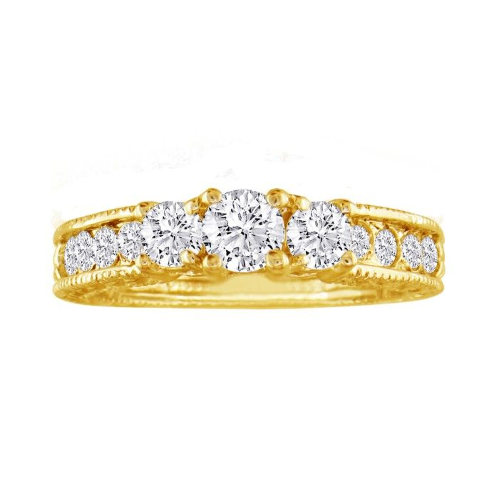 1/2 Carat Antique Model Three Diamond Plus Engagement Ring in Yellow Gold, I/J by Hansa
