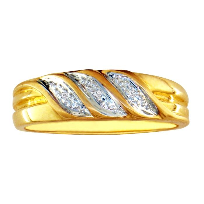 Three Row Mens Diamond Wedding Band in 10k Yellow Gold, I/J by Ha