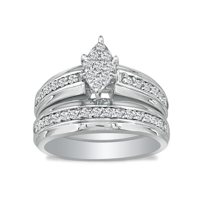 1/2 Carat Marquise Head Diamond Bridal Engagement Ring Set in 10k White Gold, I/J by SuperJeweler