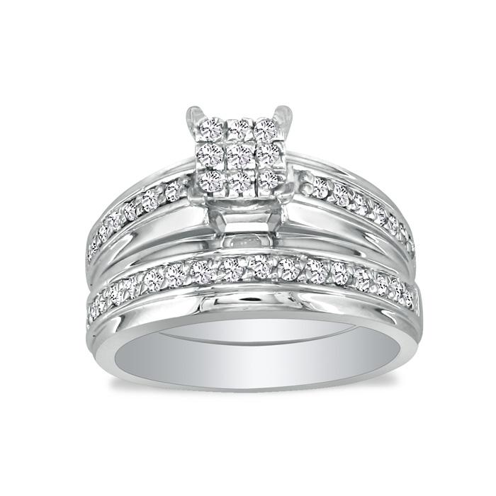 1/2 Carat Princess Cut Shaped Head Diamond Bridal Engagement Ring Set in 10k White Gold, I/J by SuperJeweler
