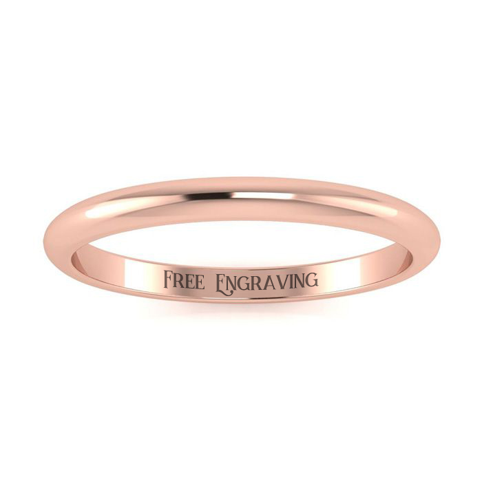 18K Rose Gold 2MM Comfort Fit Ladies and Mens Wedding Band, Size 16.5, Free Engraving