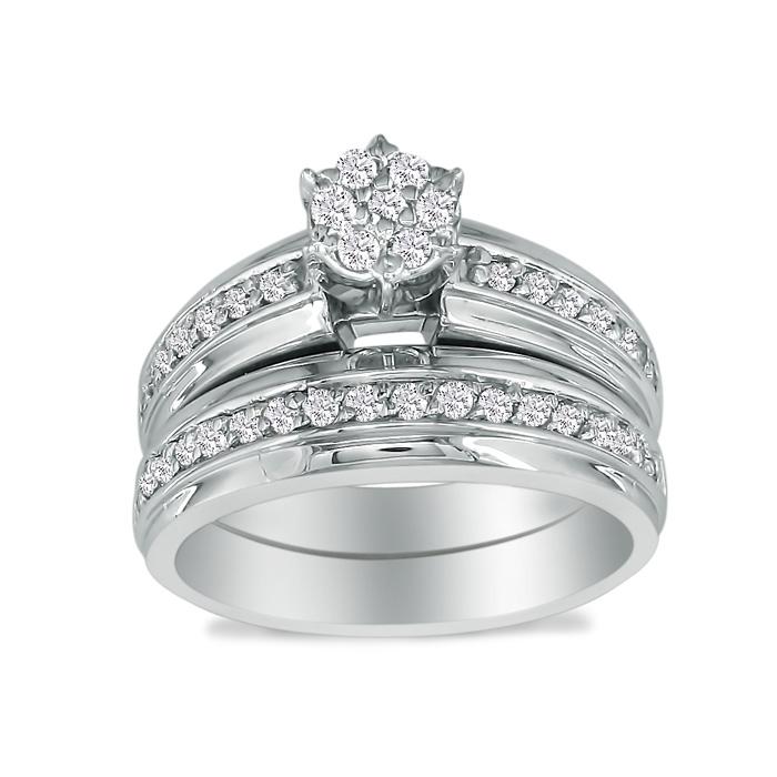 1/2 Carat Round Shaped Head Bridal Engagement Ring Set in 10k Whi