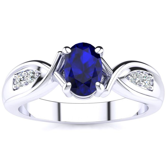 Unique Oval Sapphire and Diamond Ring in 10k White Gold