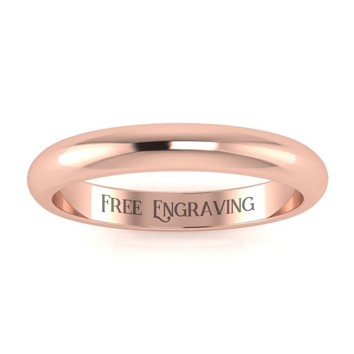 14K Rose Gold (2.5 g) 3MM Comfort Fit Ladies & Mens Wedding Band,