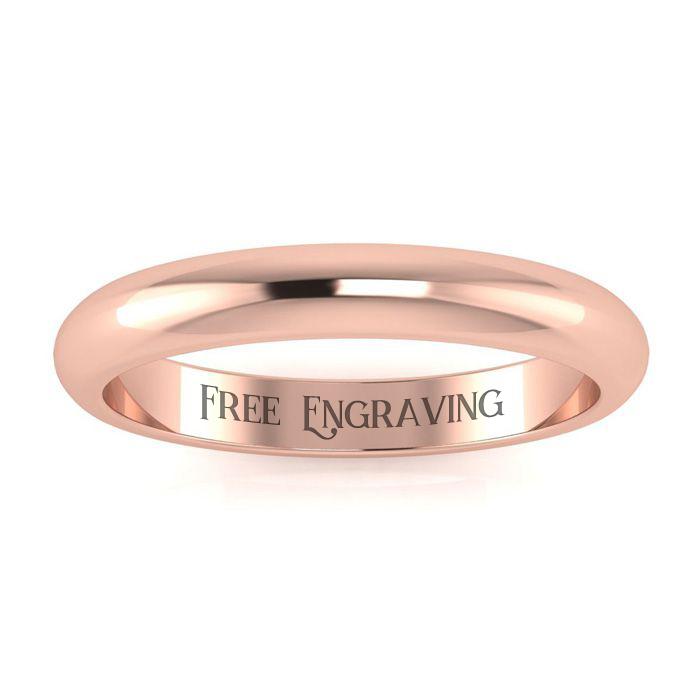 14K Rose Gold (2.8 g) 3MM Comfort Fit Ladies & Mens Wedding Band, Size 6.5, Free Engraving by SuperJeweler