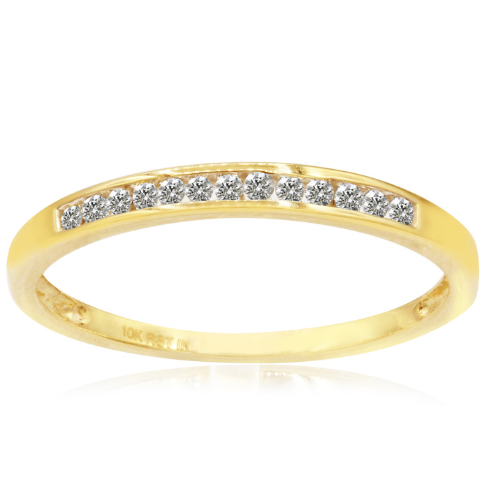Skinny 1/8 Carat Channel Set Diamond Wedding Band in 10k Yellow Gold, I/J by SuperJeweler