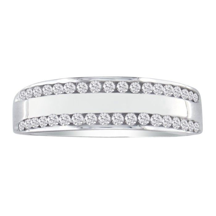 Wide 1/4 Carat Ladies Diamond Wedding Band in 10k White Gold, I/J