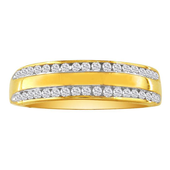 Wide 1/4 Carat Ladies Diamond Wedding Band in 10k Yellow Gold, I/
