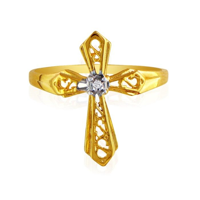 Diamond Cross Ring in Yellow Gold