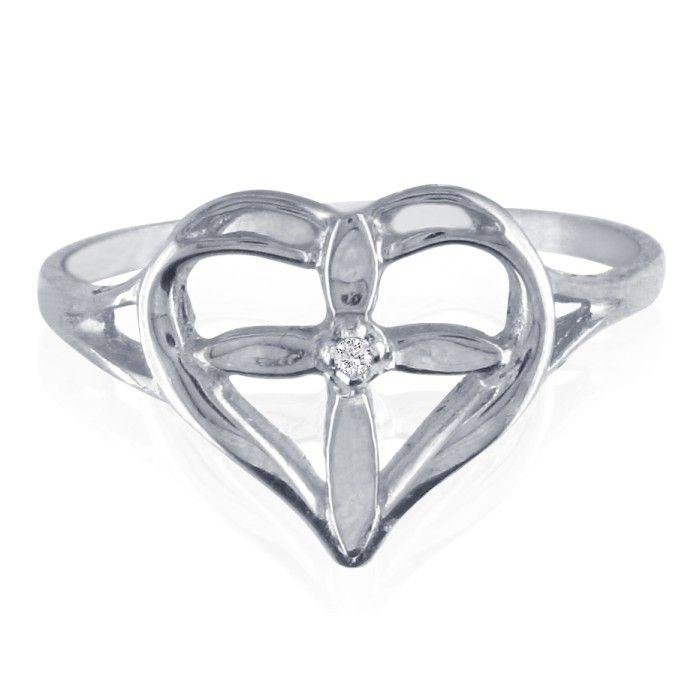 10k White Gold Filigree Diamond Cross Ring, I/J by SuperJeweler