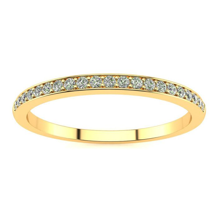 1/10 Carat Micropave Diamond Wedding Band in 10k Yellow Gold, I/J