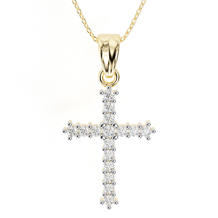 The Classic 1/4 Carat Diamond Cross Pendant Necklace in 10k Yello