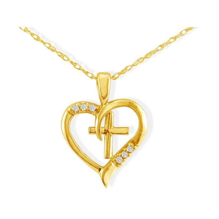 Image of .03ct Cross in Heart Pendant in 10k Yellow Gold