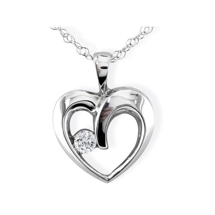 1/10 Carat Diamond Heart Pendant Necklace in 10k White Gold (1.2