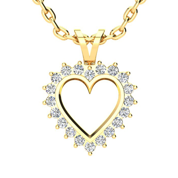 1/4 Carat Classic Diamond Heart Pendant Necklace in Yellow Gold (