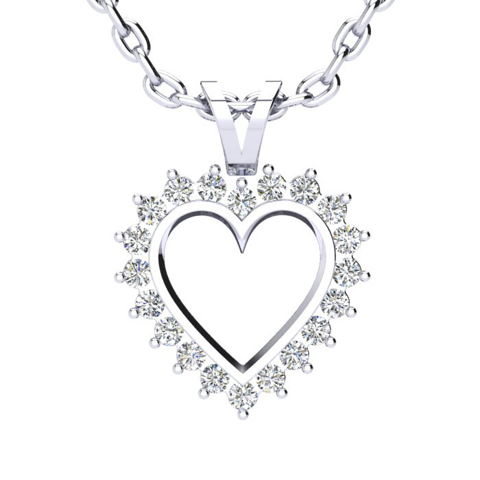 1/4 Carat Classic Diamond Heart Pendant Necklace in White Gold (1