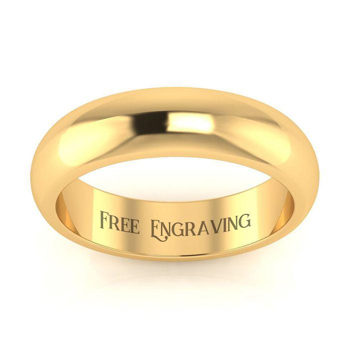 10K Yellow Gold (4 g) 5MM Comfort Fit Ladies & Mens Wedding Band,