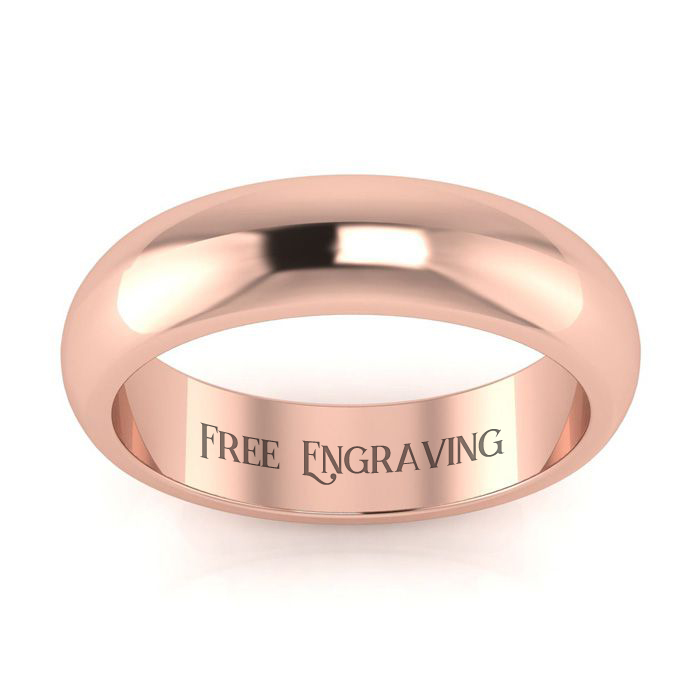 14K Rose Gold (4.8 g) 5MM Comfort Fit Ladies & Mens Wedding Band, Size 6.5, Free Engraving by SuperJeweler