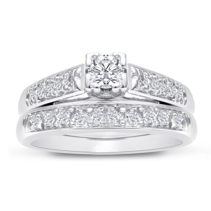 1/4 Carat Ladies Traditional Diamond Bridal Ring Set in 10k White Gold (4 g), I/J by Hansa