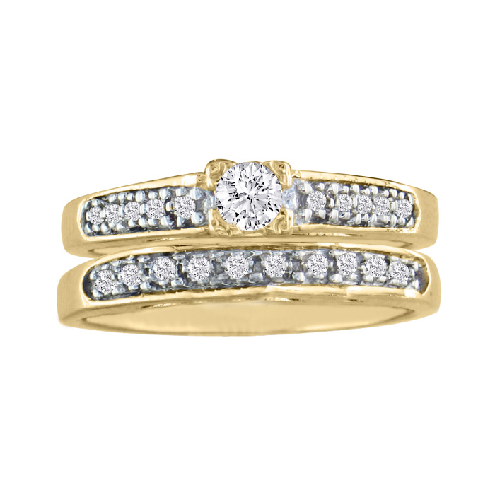 1/4 Carat Ladies Traditional Diamond Bridal Ring Set in 10k Yellow Gold (4 g), I/J by Hansa