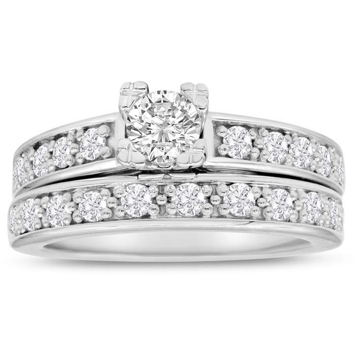 1 Carat Ladies Traditional Diamond Bridal Ring Set in 14k White Gold (7 g), I/J by SuperJeweler